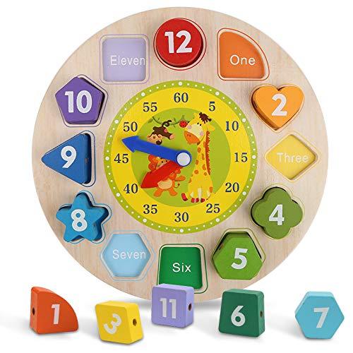 Mitening Lernuhr Uhr-Spielzeug, Lernuhr Holz Lernspiel Kinderspielzeug Montessori Holzspielzeug mit Seil, Zahl und Tier Muster, Pädagogisches Lernen Spielzeug für Kinder ab 3 Jahren