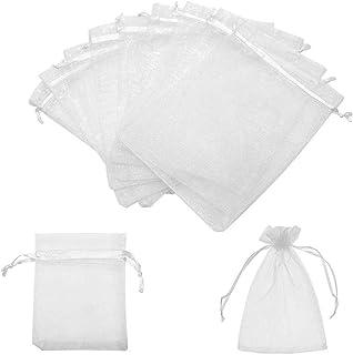 VOARGE - Confezione da 100 sacchetti in organza, 7 x 9 cm, per gioielli, bomboniere con cordino, per matrimoni, compleann...