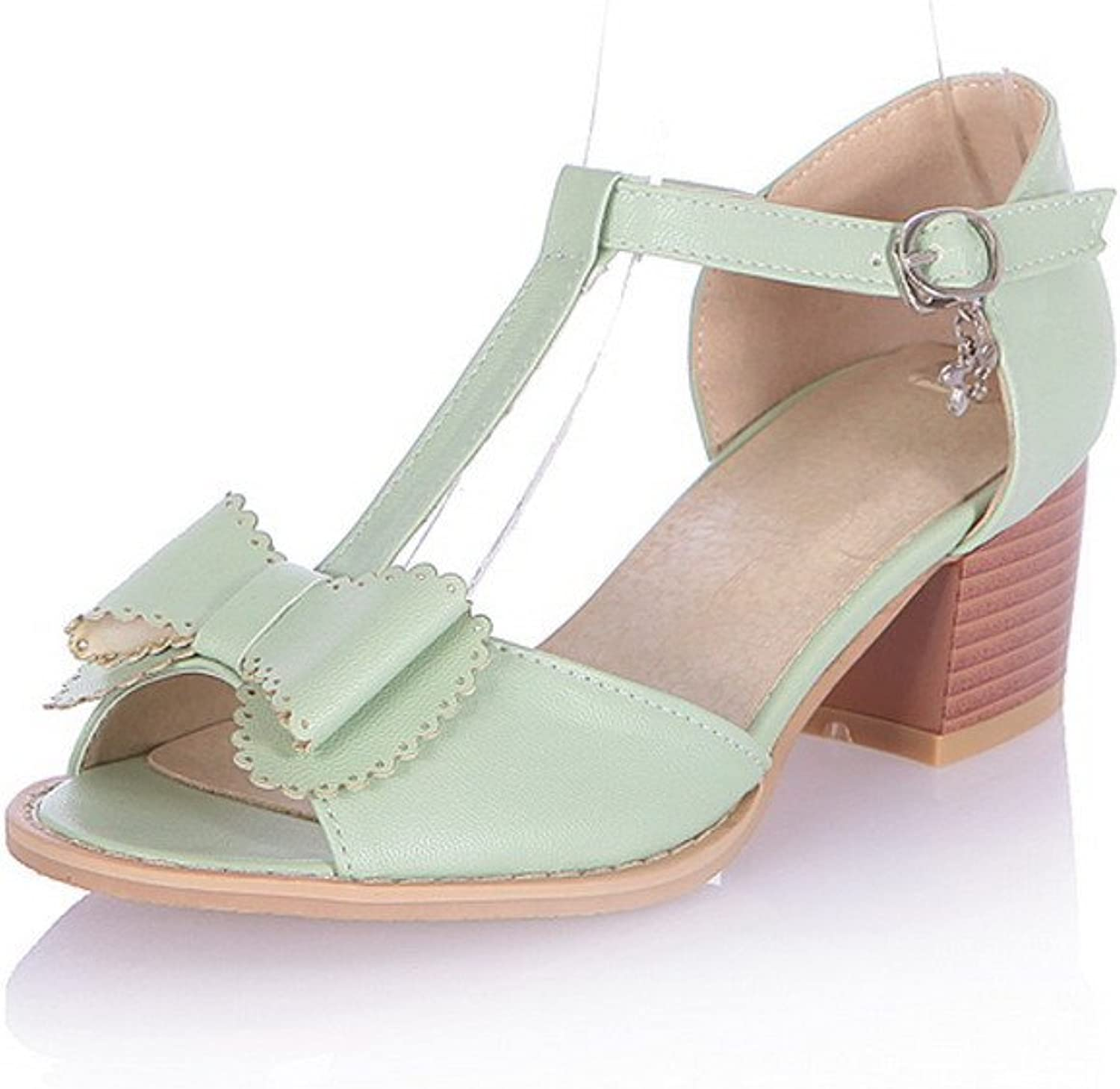 WeenFashion Womens Open Peep Toe Kitten Heel PU Soft Material Solid Sandals with Buckle and Bowknot, Green, 10 B(M) US