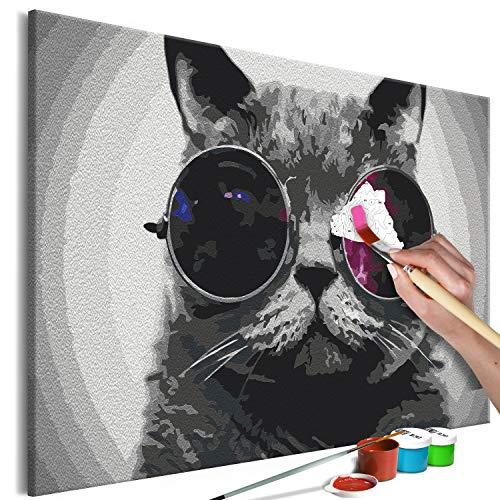 murando - Malen nach Zahlen Abstrakte Katze Brille Tiere 60x40 cm Malset mit Holzrahmen auf Leinwand für Erwachsene Kinder Gemälde Handgemalt Kit DIY Geschenk Dekoration n-A-1242-d-a