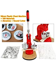 OUKANING Badge Maker Machine 58 mm Pin Button & 500pcs Blank Material