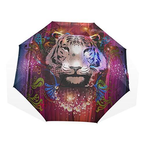 Paraguas Compacto Sol Hombre Naturaleza Hábitat Cabeza de Tigre Paraguas artísticos de...