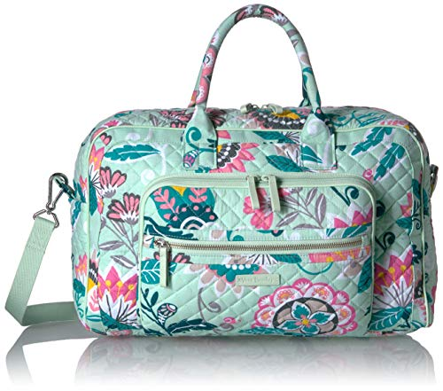 Vera Bradley Signature Cotton Compact Weekender Travel Bag, Mint Flowers
