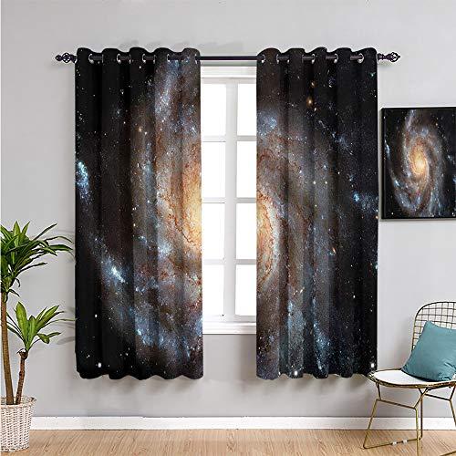 Pcglvie Galaxy - Cortinas de privacidad impresas, insonorizadas, 160 cm de largo, diseño de estrella en gran espacio, cortina de café de 106 cm de ancho x 163 cm de largo