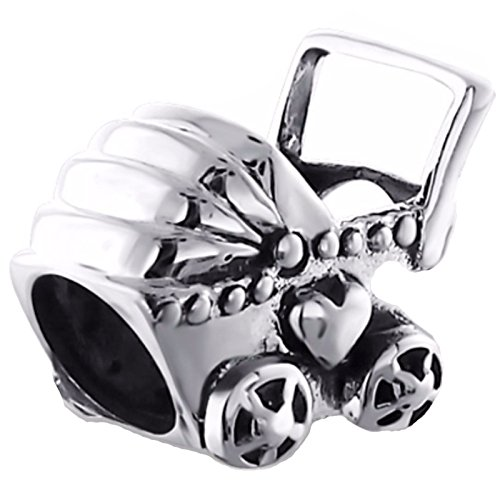 Silvadore - Silver Bead - Buggy Pram Baby New Born Child Heart Love Wish Luck - 925 Sterling Charm 3D Slide On 481 - Fits Pandora European Bracelet - Gift Boxed