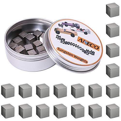 Aneco 3 Ounce Tungsten Weights Cubes Tungsten Wooden Racing Car Weights Cylinders Weights to...