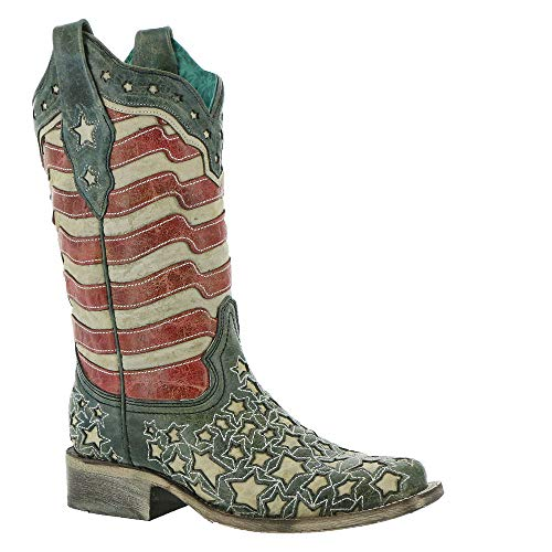 CORRAL Women's Blue Jeans Stars and Stripes Western Boot Square Toe Blue 8 M