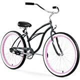Firmstrong Urban Lady Single Speed Beach Cruiser Bicycle, 26-Inch, Black w/Pink Rims