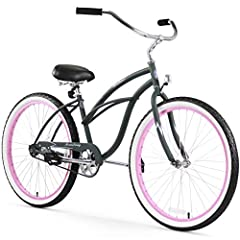 26-inch women's single-speed cruiser bike for easy, relaxed riding Classic curvy beach cruiser design with 15-inch durable steel frame and aluminum wheels White-wall balloon tires for a cushioned ride; easy-to-use coaster brakes. Pedals - Rubber Bloc...