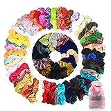 Wanxida 50 Colores Coleteros Terciopelo, Velvet Hair Scrunchies, Elástico Gomas de Pelo Para Mujeres Niñas Accesorios