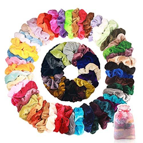 50 Stück Samt Haargummis Scrunchies Elastischer Weich Haarbänder Bunte Haarschmuck Haarseil für Damen Mädchen, Mit 1 Stück Aufbewahrungstasche