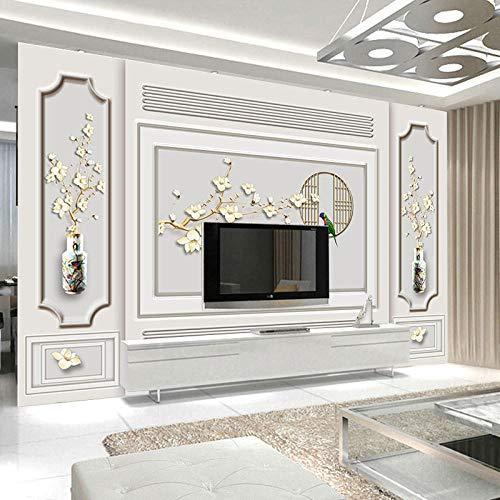 Mural de pared 3D Estilo europeo 3D Tallado en yeso de imitación Línea Mural Nuevo estilo chino Flor y pájaro Fondo de pantalla-300 * 210Cm
