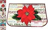 "Holiday Season Rug, Christmas Time Fun Designs, Non-Skid Home, Kitchen, Floor Mat, Comfortable Standing and Entrance Rug, 17"" x 28"" (Poinsettia)"
