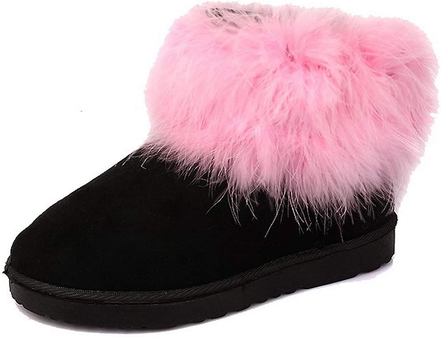 AllhqFashion Women's Pull-On Round-Toe Low-Heels Frosted Low-Top Boots, FBUXC039238