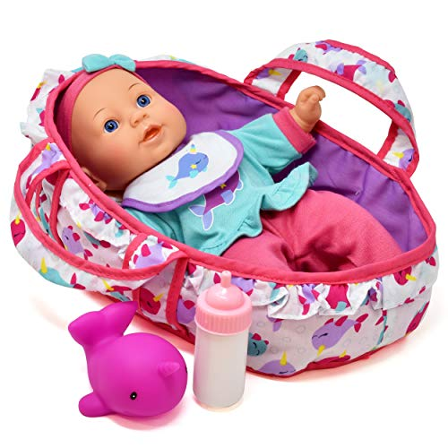 Baby Doll Feeding Set, 12 Inch Soft Body Baby Doll with Carrier Bassinet Bed, Includes Play Doll, Realistic Bottle, Bib and Rubber Dolphin