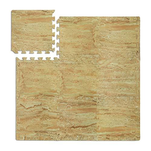 45 x Bodenschutzmatte, Puzzlematten, Sport & Fitnessgeräte, 4,25 m², EVA Schaumstoff, BPA-frei, Naturstein-Optik, beige