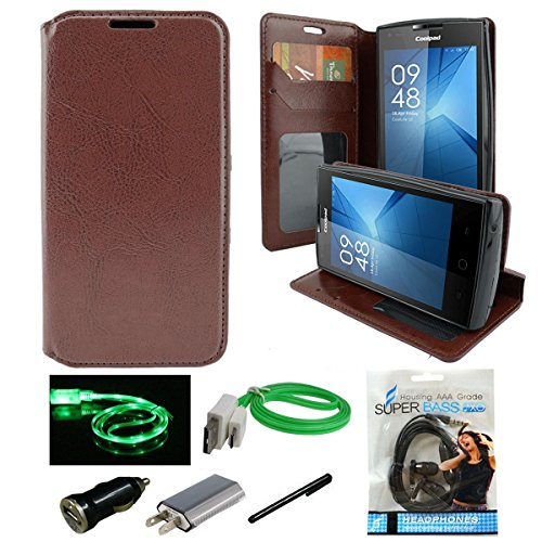 Alcatel Onetouch Pixi Pulsar Case, Mstechcorp, PU Leather Wallet Stand Flip Case Cover for Onetouch Pixi Pulsar A460G - With Accessories (Fold Brown)