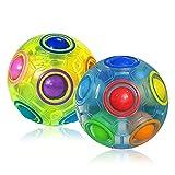 ROXENDA Bola Mágica Rainbow Balls, [2 Pack] Juego de Habilidad Bola de Rompecabezas con 11 Bolas - Cerebro Teaser y Bola de Estrés para Niños y Adultos (Azul & Verde)