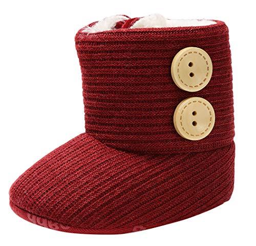 DEMU Baby Mädchen Stiefel Lauflernschuhe Freizeitschuhe Wärme Gefütterte Gestrickte Babyschuhe Weinrot Innelänge 11cm