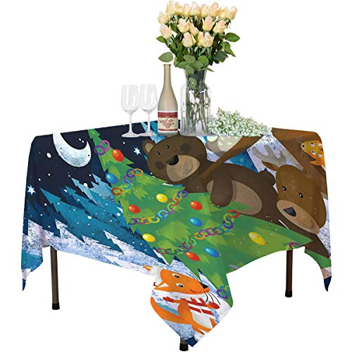 Fairy Tree Wrinkle-Free Tablecloth Cartoon Style Christmas Themed Forest Animals and a Tree Decorative Solid Tablecloth W55 xL55 Dark Night Blue and Multicolor