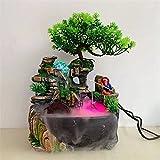 YCSX Fuente Interior Decoración for el hogar Desktop Cascada Fuente Creativa Meditación Simulación Resina Rúfeso Fuente de Agua Estatua Feng Shui Ornamentos Mueble Acuario