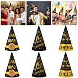 Amosfun 2020 New Year Party Hats 9Pcs New Year Paper Cone Hat 2020 New Year Eve Party Tiara Supplies Fiesta Party Hat Glitter Photo Booth Props