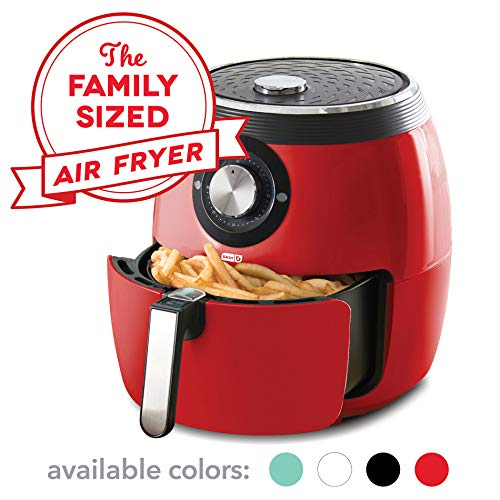 Dash DFAF455GBRD01 Deluxe Electric Air Fryer plus Oven Cooker with Temperature Control, Non Stick Fry Basket, Recipe Guide plus Auto Shut off Feature, 6 qt, Red