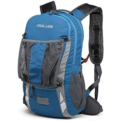 LOCAL LION Fahrradrucksack 20L mit Regenschutz für Damen & Herren Rucksack mit Elastisch-Tragesystem wasserdicht zum Radfahren Sport Uni Schule Wandern Trekking Camping Bergsteigen blau