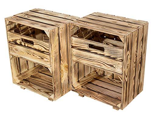 Vintage Möbel 24 GmbH 2X Schicke Regalkiste, Holzkiste auf Füßen/NEU / 30,5x40x54cm / 2 Fächer (Geflammt mit Schublade)