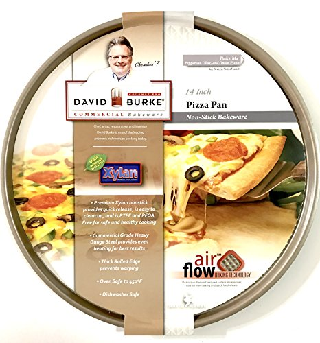 Gourmet Pro PFOA and PTFE Free Commercial Bakeware 14 inch Bronze Non-Stick Pizza Pan with Air Flow Technology