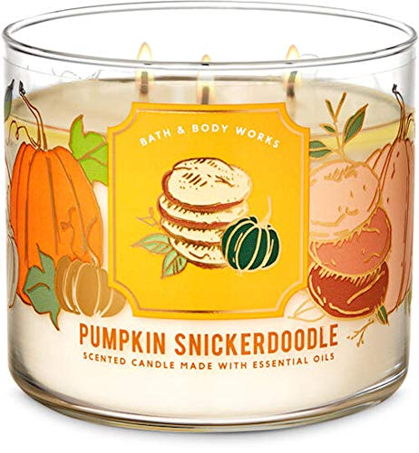 White Barn Candle Company Bath and Body Works 3-Wick Scented Candle w/Essential Oils - 14.5 oz - Pumpkin Snickerdoodle (Warm Sugar Cookies, Ground Cinnamon, Fresh Nutmeg, Sprinkled with Sugar)