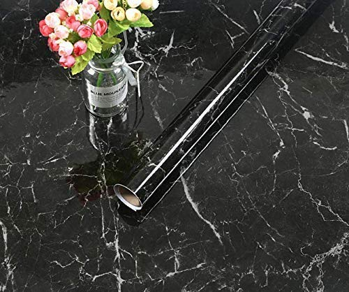 """EBuyers 11.8""""x78"""" Wide Marble Paper Kitchen countertop Cabinet Furniture PVC Easy to Remove Without Leaving Mark Marble Wallpaper, Shelf Liner(11.8""""x78"""", Black)"""