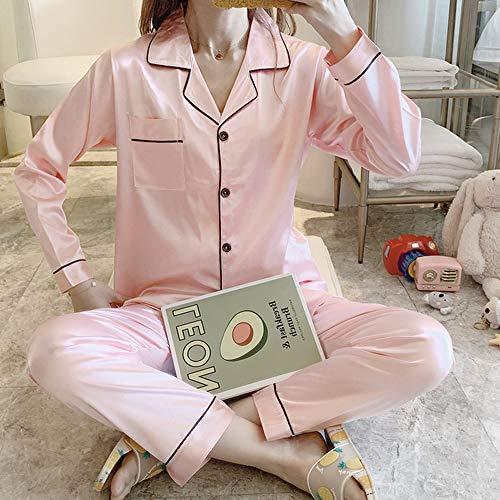 QWKLNRA Conjunto Pijama Seda Mujer,Conjunto De Pijama De Seda Rosa Claro para Mujer, Traje De Casa De Manga Larga, Ropa De Estar/para Todas Las Estaciones, M