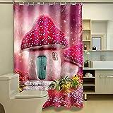 TKWNB Cortina de Ducha Impresa en 3D Casa de Setas para niños Cortina de Ducha Cortina de Ducha de baño Cortina de Ducha de baño Impermeable 180x180cm