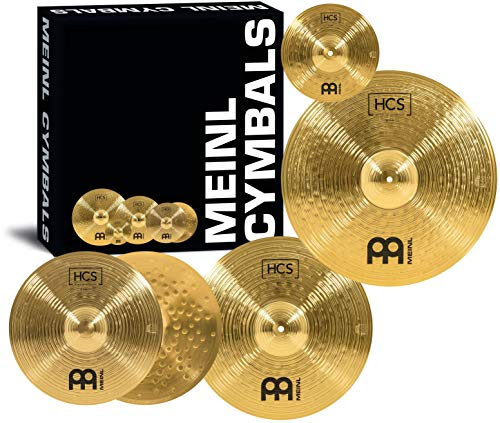 """Meinl Cymbals Set Box Pack with 14"""" Hihats, 20"""" Ride, 16"""" Crash, Plus a FREE 10"""" Splash – S Traditional Finish Brass – Made In Germany, 2-YEAR WARRANTY (HCS141620+10)"""