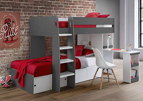 Happy Beds Wooden Bunk Bed with Storage and Desk, Eclipse Grey and White Wood Modern Twin Sleeper - 3ft Single (90 x 190 cm) Frame Only