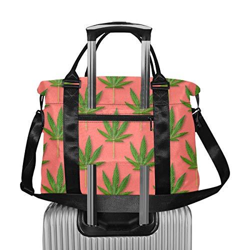 Cannabis Hojas de Marihuana Vintage Gym Duffle Bag Extra Large Duffle Bag para Mujeres Viajes Ligero Travel Girls Duffle Bag Plegable para Hombres Mujeres