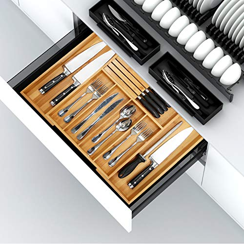 Bamboo Utensil Organizer Drawer Kitchen, Expandable Cutlery Tray with Divider | 13'-21.6' Flatware Storage and Removable Knife Block | Wooden Drawer Organizer for Manual Tools and Office Supplies