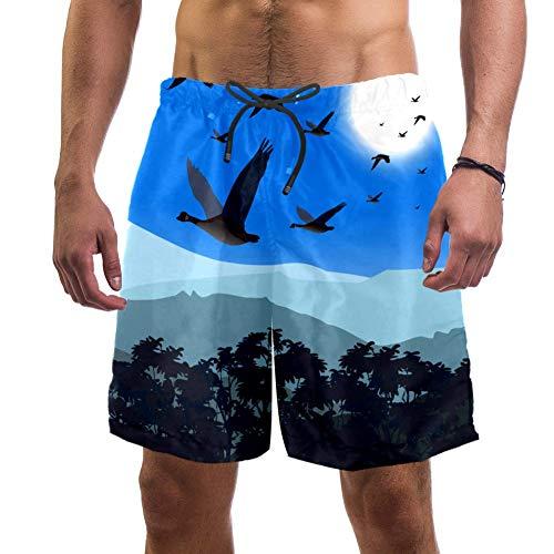 Shiiny - Bañador para hombre, diseño de gansos, secado rápido, para verano, surf, playa, pantalones cortos ligeros con forro de malla, talla L