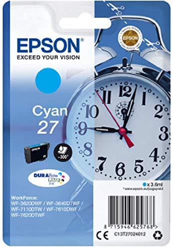 Epson Original 27 Tinte Wecker (WF-3620DWF WF-3640DTWF WF-7110DTW WF-7210DTW WF-7610DWF WF-7620DTWF WF-7710DWF WF-7715DWF WF-7720DTWF, Amazon Dash Replenishment-fähig) cyan