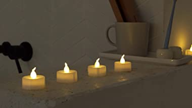 AMAGIC 30 Pack LED Tea Lights, Lasts 2X Longer, Flameless Tealights Candles with Flickering Warm White Light, Battery Operate