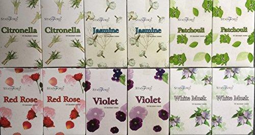 180 mixed Stamford incense cones 6 varieties. 2 X Citronella 2 x Jasmine 2 x Patchouli 2 x Red Rose...