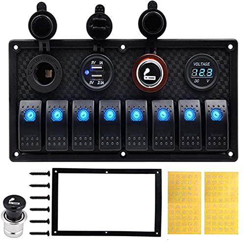 Accesorios de RV 5 Pin Marine Boat RV Ignición Toggle Rocker Switch Panel 12-24V LED Voltímetro Dual USB Cargador Adaptador Encendedor de cigarrillos para carpa coche rv ( Color : Blue 8 Gang Switch )