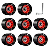 TOBWOLF 8 Pack 58mm x 39mm, 95A, Indoor Quad Roller Skate Wheels for Roller Derby Speed Skateing, Artisitc, Jam, Rink & Rhythm Skates, PU Wear-Resistant Wheels Double-Row Roller Skates Accessories