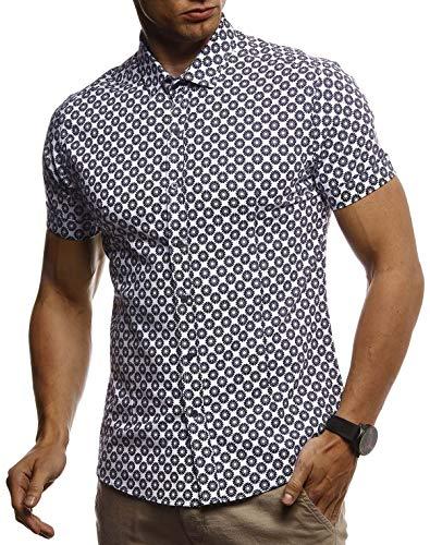 Leif Nelson Herren Hemd Kurzarm Slim Fit T-Shirt Kentkragen Stylisches Männer Freizeithemd Stretch Kurzarmhemd Jungen Basic Shirt Freizeit Sweater Sommerhemd LN3805 Weiß-Blau Medium