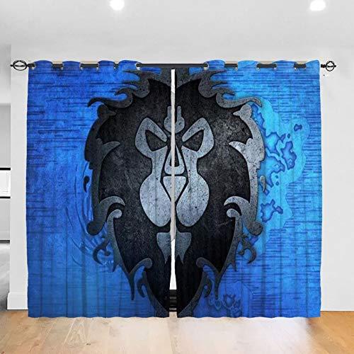 RVEVHGAHHA World Warcraft - Cortina opaca con aislamiento térmico y aislamiento acústico, decoración para el hogar, para sala de estar, habitación de los niños, 2 paneles de 52 x 72 pulgadas