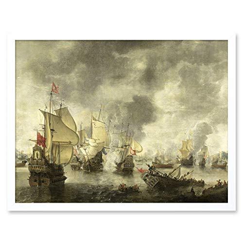 Beerstraten Battle Venice Dutch Ships Bay Foya Wall Art Print Framed 12x16 Bier Vlag Venetië Nederlands schip muur