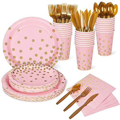 Decorlife Pink Party Plates, Pink and Gold Party Supplies Set, 192PCS Serves 24, 12oz Cups for Adults, 48PCS Party Napkins, Paper Plates, Gold Cutlery Serves 24, for Girls Birthday, Baby Shower
