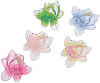 5 Pcs Colorful Lotus Flower Embroidery Applique Chinese Style Applique Patch Garment Patch Small Embroidery Patch, Random ...