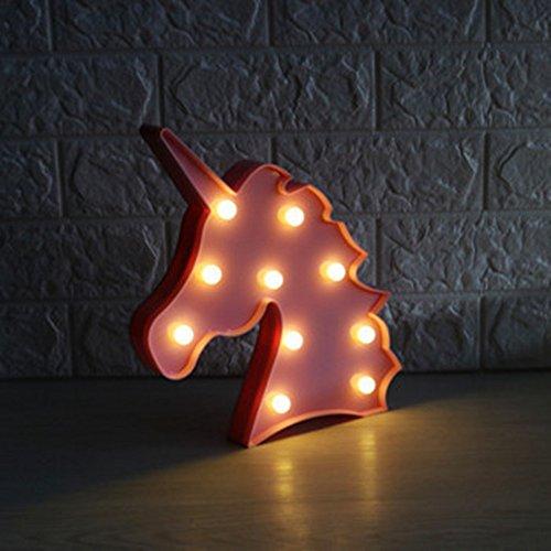 Lampes d'ambiance- Veilleuse LED licorne - Lampe de bureau - Pour chambre d'enfant - Décoration Einhorn, Rosa2